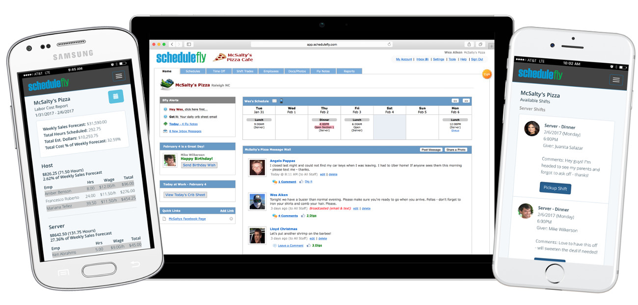 restaurant staff scheduling and communication software by schedulefly